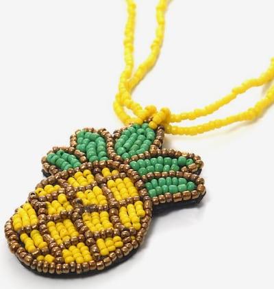 COLLEZIONE ALESSANDRO Kette  'Ananas, C2607A - F84' in braun / gelb / dunkelgrün, Produktansicht