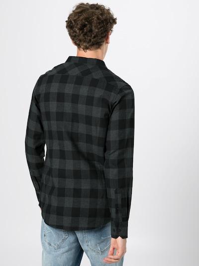 Urban Classics Hemd 'Checked Flanell' in anthrazit / schwarz: Rückansicht