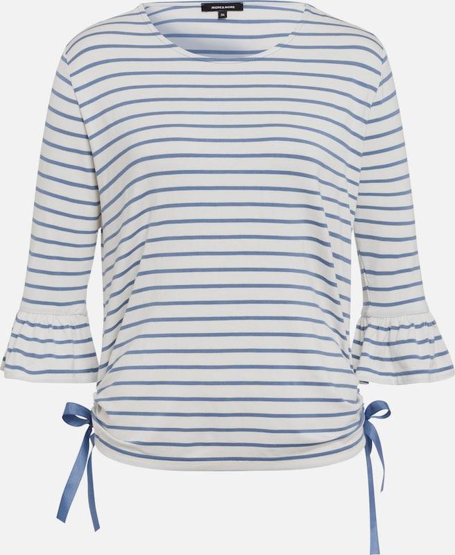 MORE & MORE Streifen-Shirt, hellblau/ecru