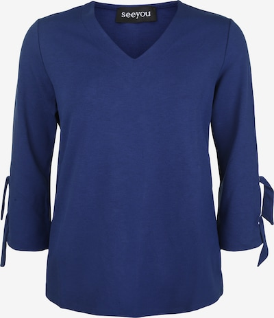 seeyou Pullover mit V-Ausschnitt in blau, Produktansicht