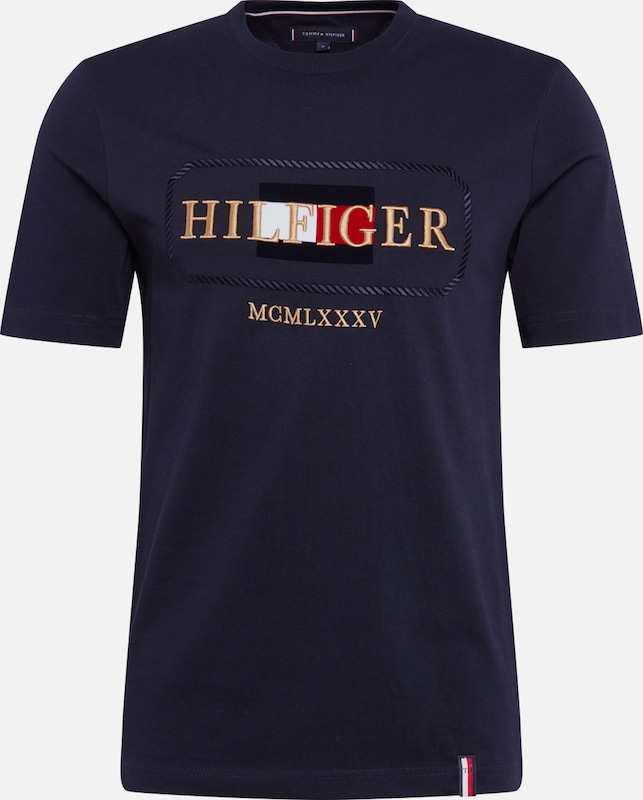 TOMMY HILFIGER Shirt 'ROPE FRAME' in de kleur Donkerblauw / Goud / Rood / Wit, Productweergave