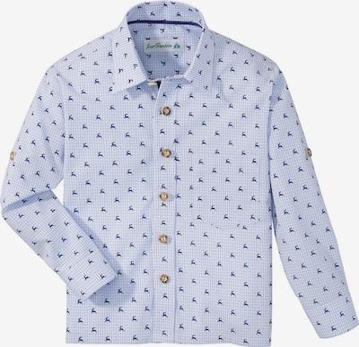 Isar-Trachten Trachtenhemd mit Hirschdruck in rauchblau, Produktansicht