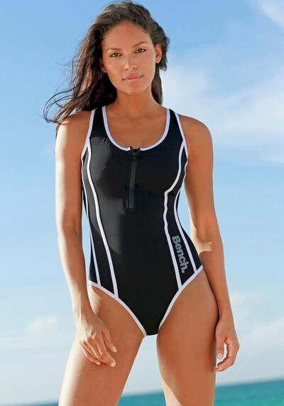 BENCH Badeanzug in schwarz / weiß, Modelansicht