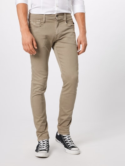 REPLAY Jeans 'ANBASS Hyperflex' in dunkelbeige: Frontalansicht