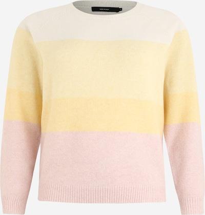Vero Moda Curve Pulover 'VMDOFFY LS O-NECK NEW BLOCK BLOUSE CURVE' | rumena / roza / bela barva, Prikaz izdelka