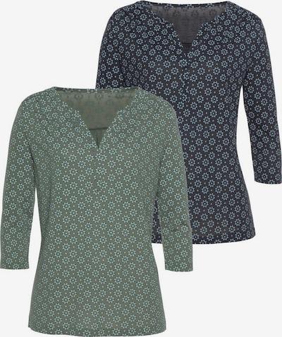 LASCANA Bluse in navy / smaragd, Produktansicht