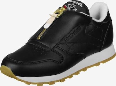 Reebok Classic Sneaker 'CL Leather Zip W' in gold / schwarz / weiß: Frontalansicht
