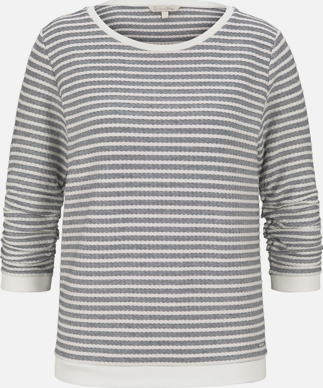 TOM TAILOR DENIM Sweatshirt in grau / weiß, Produktansicht