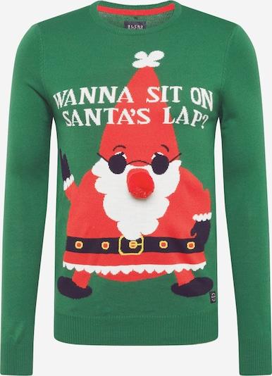 BLEND Sweter 'Pullover' w kolorze jodła / czerwonym, Podgląd produktu