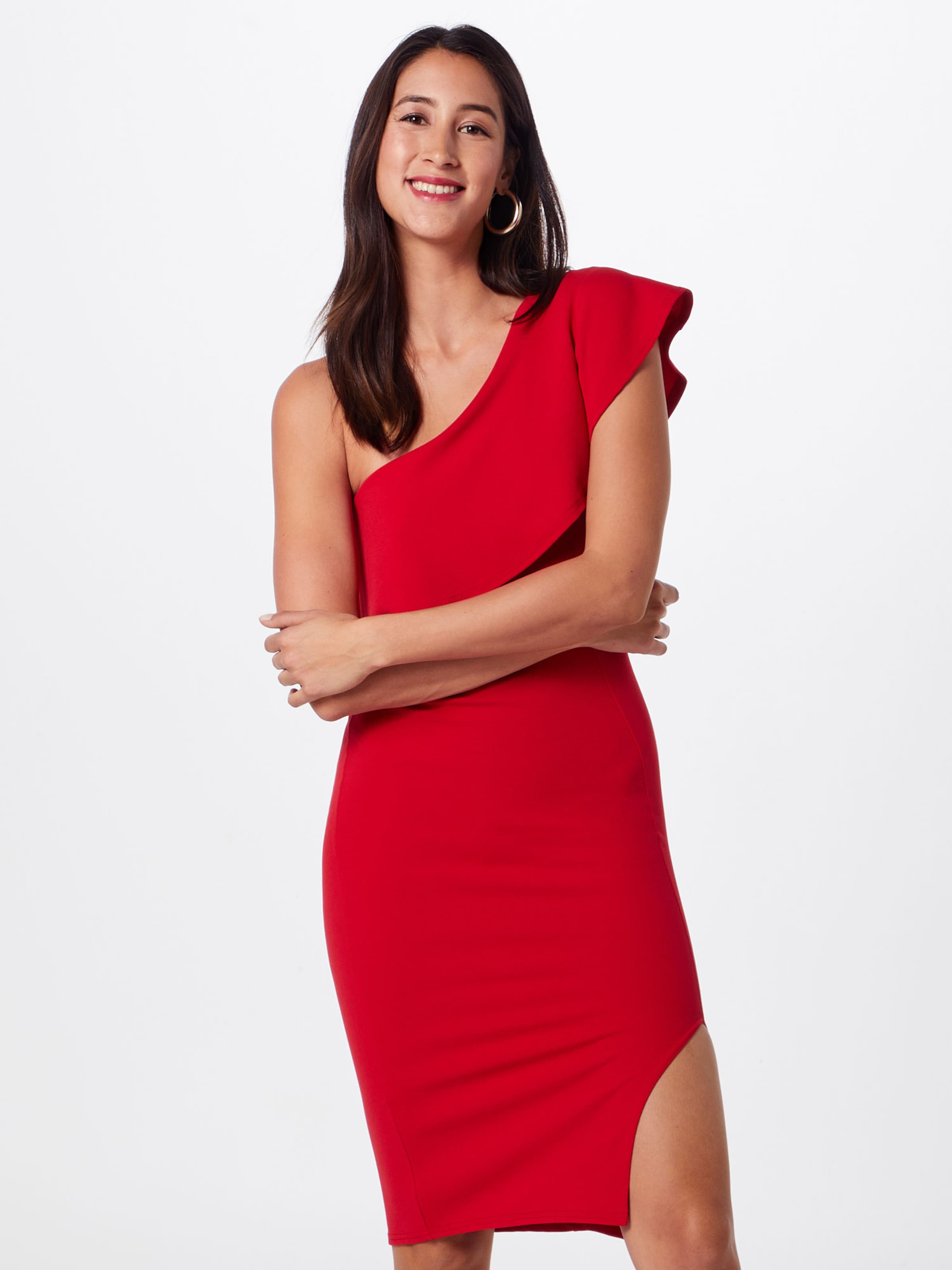 'scuba Kleid Frill Missguided One In Rot Midi Dress' Shoulder nOPkZN8wX0