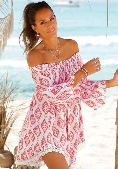 Paplūdimio suknelė iš s.Oliver , spalva - pastelinė raudona / balta, Modelio vaizdas