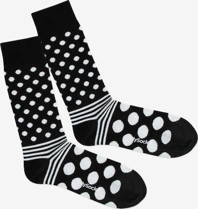 DillySocks Socken 'Dot Stripe Night' in schwarz / weiß, Produktansicht