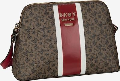 DKNY Umhängetasche 'Whitney Logo Stripe Dome Crossbody' in braun / dunkelbraun / burgunder / weiß, Produktansicht