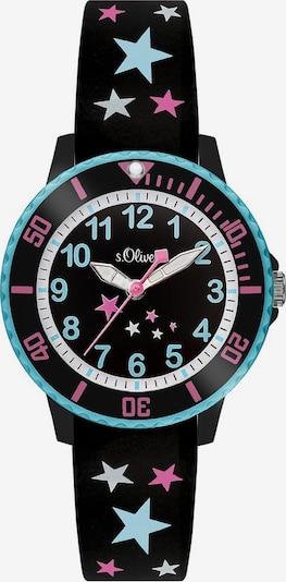 s.Oliver Junior Uhr in neonblau / pink / schwarz / weiß, Produktansicht