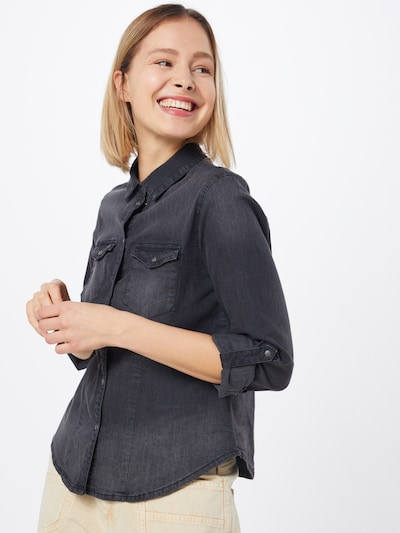 Noisy may Blouse 'NMDILEM' in de kleur Black denim, Modelweergave