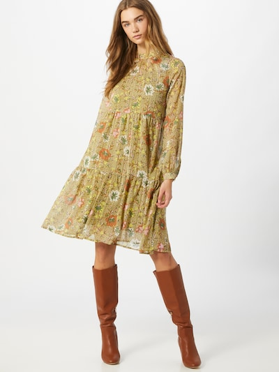 VERO MODA Šaty 'Cille' - zelená / olivová / tmavooranžová / biela, Model/-ka