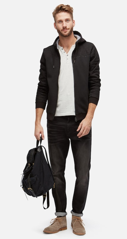 TOM TAILOR Sweatjacke im Material-Mix