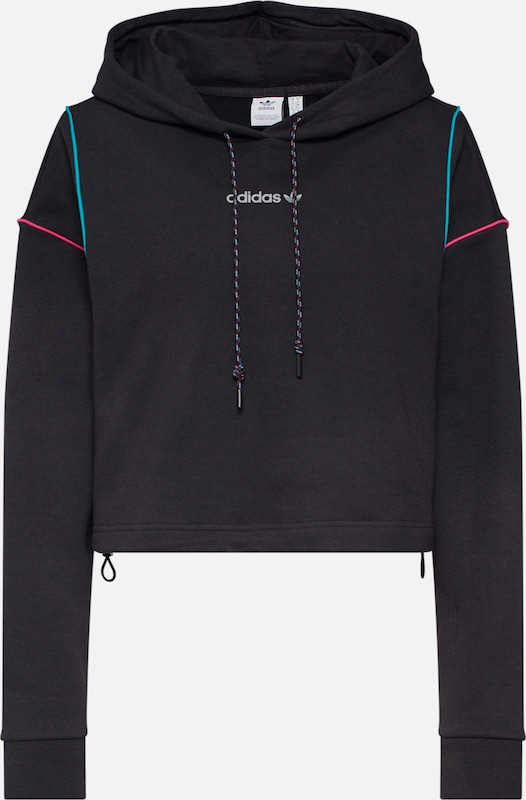 ADIDAS ORIGINALS Sweatshirt 'Cropped Hoodie' in schwarz