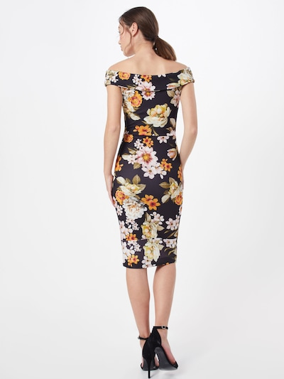 Missguided Sukienka etui 'PRINTED BARDOT' w kolorze jasnozielony / mieszane kolory / czarny / białym: Widok od tyłu