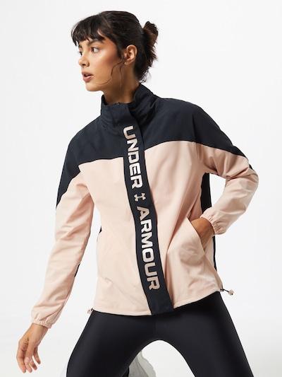 UNDER ARMOUR Športová bunda 'Recover' - ružová / čierna melírovaná: Pohľad spredu
