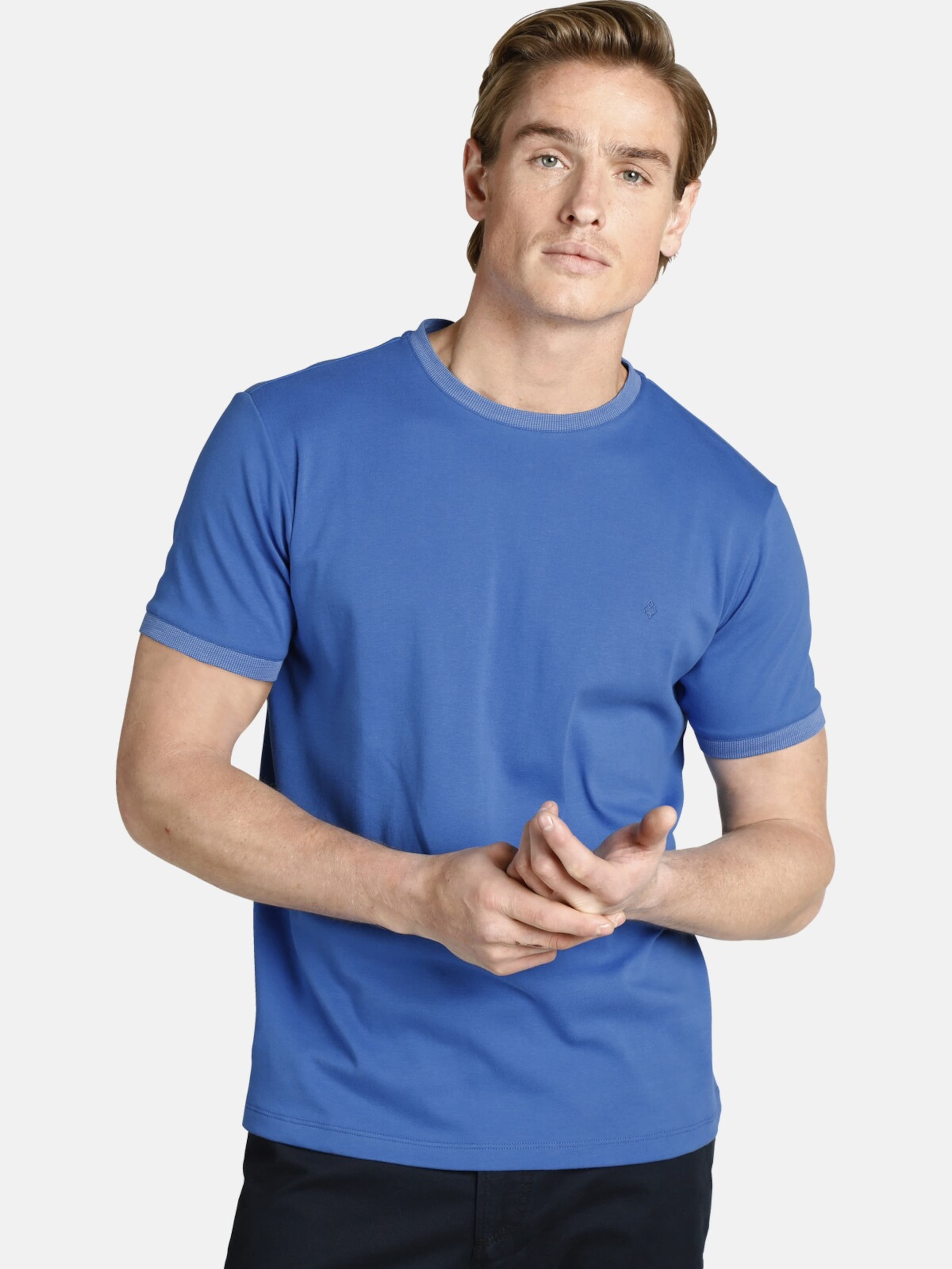 Charles Colby T-Shirt 'Duke Enne' in royalblau Gerader Saum C11801-0001