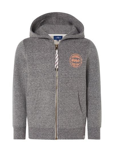 TOM TAILOR Strick & Sweatshirts Sweatjacke mit Print in graumeliert: Frontalansicht
