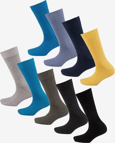 camano Socken in blau / gelb / grau / lila / schwarz: Frontalansicht