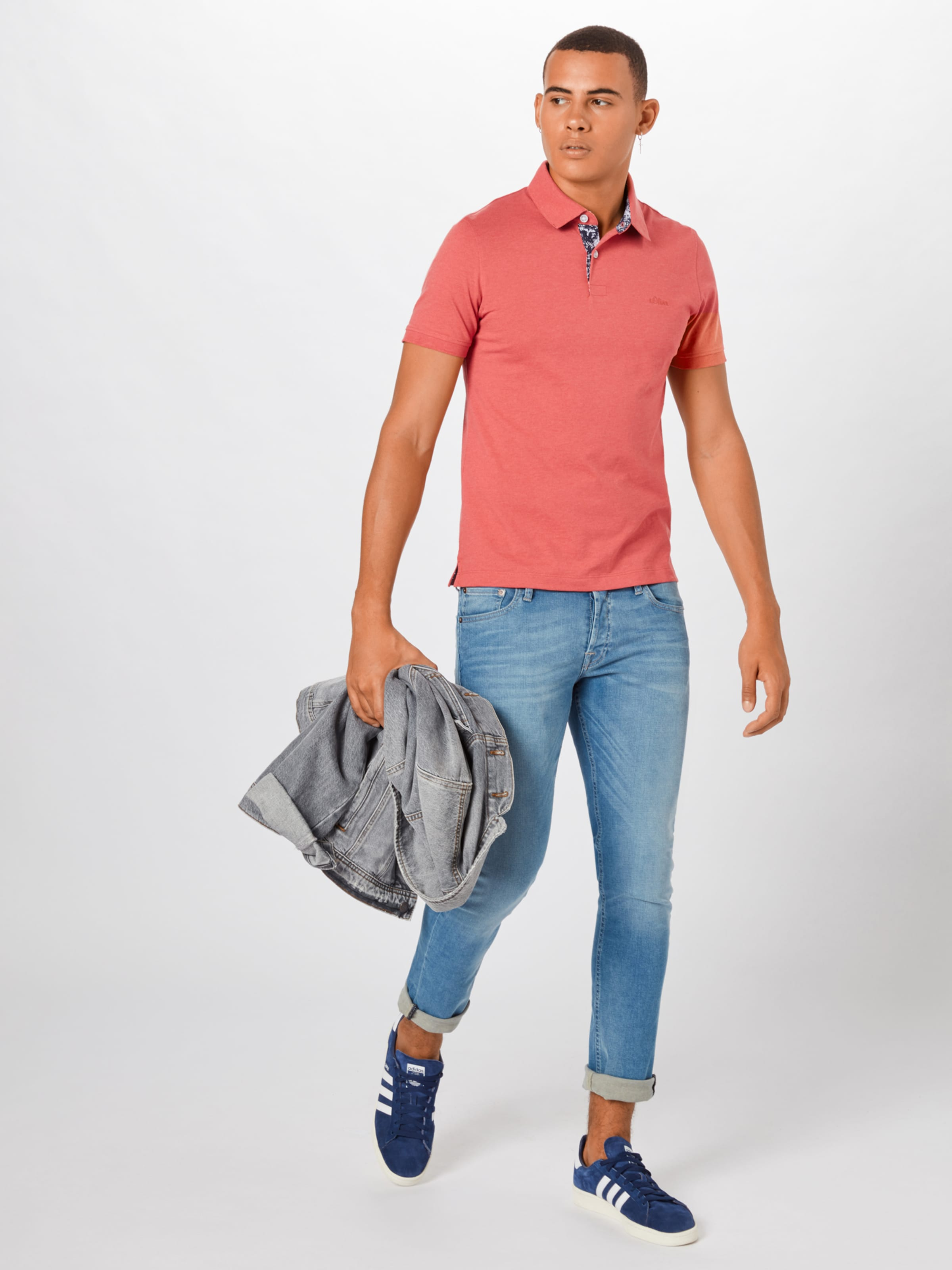 S oliver Red In RotWeiß Label Poloshirt Y7ybf6g