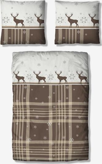 MY HOME Bettwäsche in braun / weiß, Produktansicht