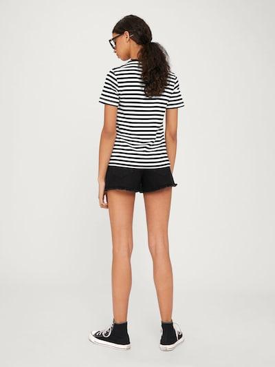 Tricou 'Leila' EDITED pe negru / offwhite: Privire spate