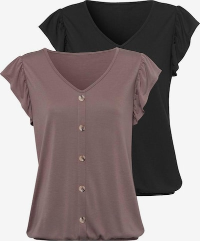 LASCANA Bluse in taupe / schwarz, Produktansicht