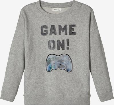 NAME IT Sweatshirt in graumeliert / schwarz: Frontalansicht