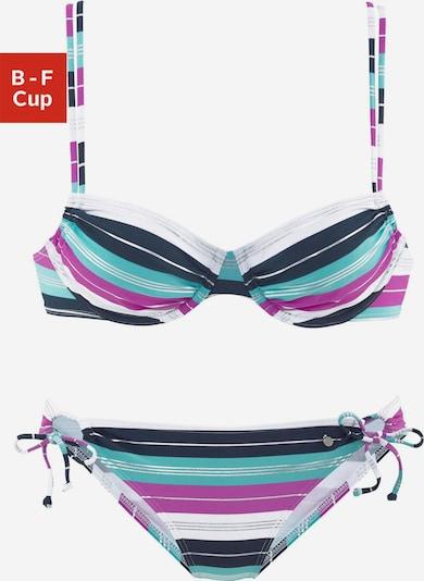 s.Oliver Bikini in türkis / dunkelblau / fuchsia / weiß, Produktansicht
