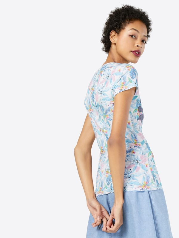 Weiß T shirt Hellblau Superdry Rosa 'vintage Aop Entry' Logo HBU8qdw