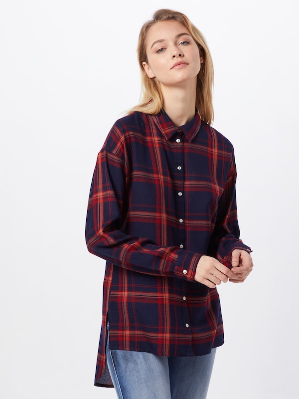 ONLY Bluse 'PAMELA CHECK SHIRT' in nachtblau, Modelansicht