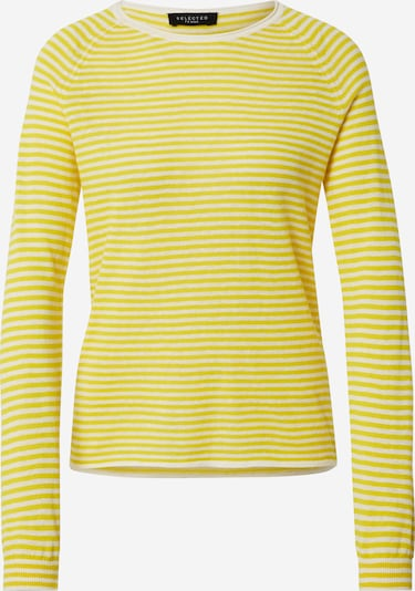 SELECTED FEMME Pullover 'FASTRID' in gelb / weiß, Produktansicht