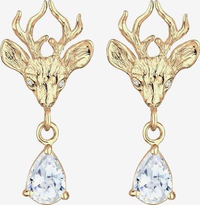 ELLI Ohrringe 'Hirsch' in gold / weiß, Produktansicht
