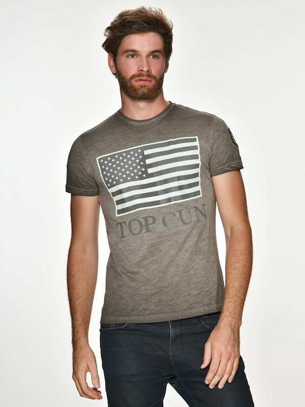 TOP GUN T-Shirt 'Search' in beige / khaki: Frontalansicht