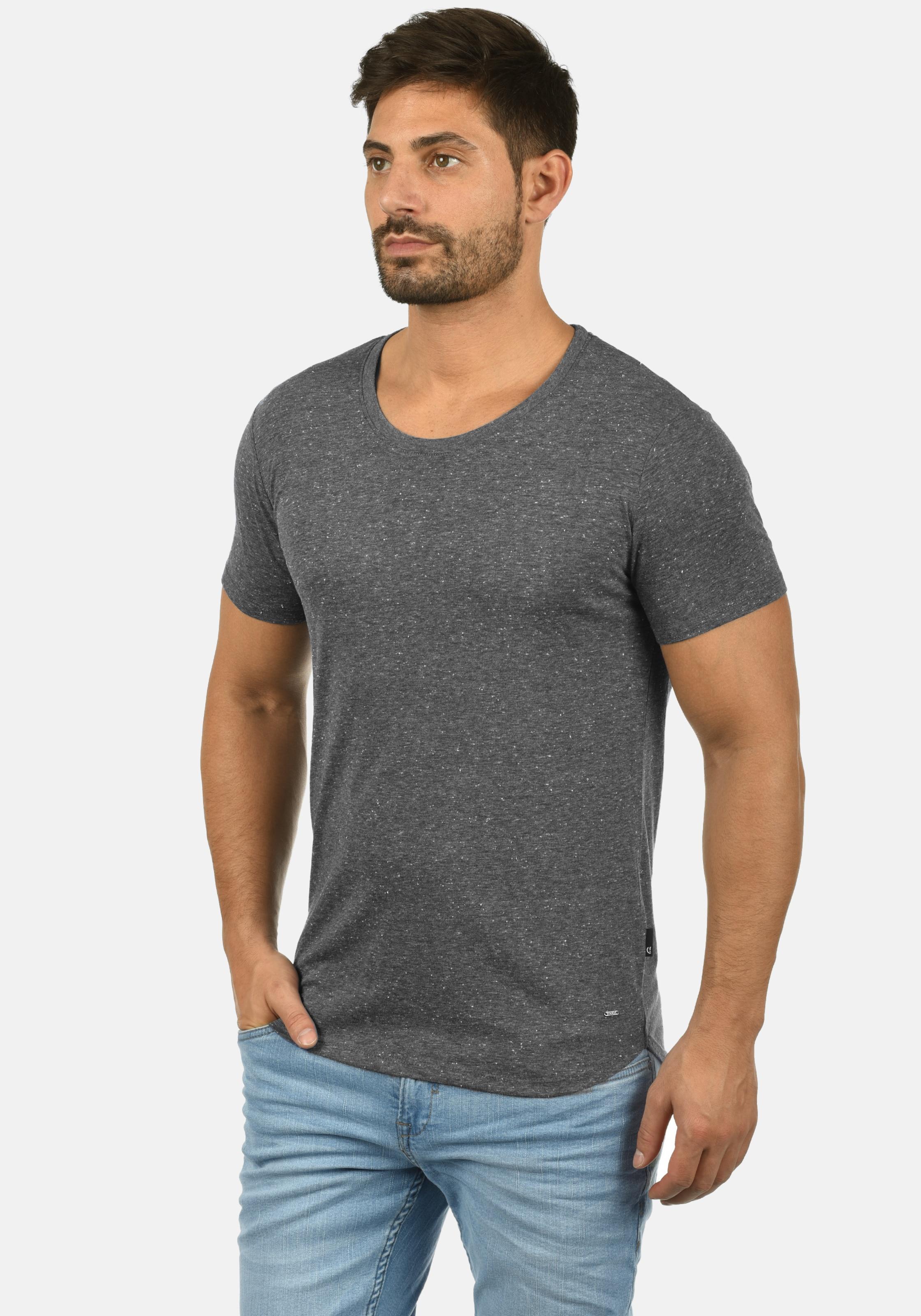 !Solid Rundhalsshirt 'Thias' in schwarz Runder Saum ART113960-028