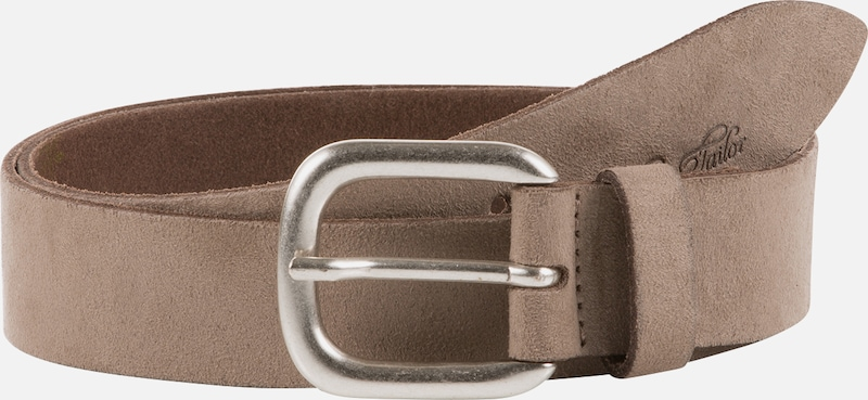 TOM TAILOR Ceinture 'suede leather belt with alcantara soft touch' en taupe, Vue avec produit