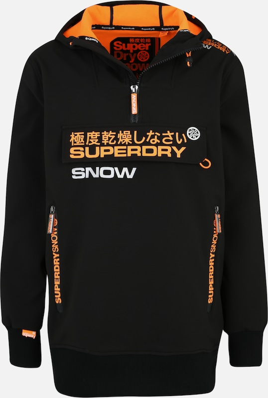 Superdry Snow Sport-Sweatshirt 'SNOW TECH HALF ZIPHOOD' in orange / schwarz: Frontalansicht
