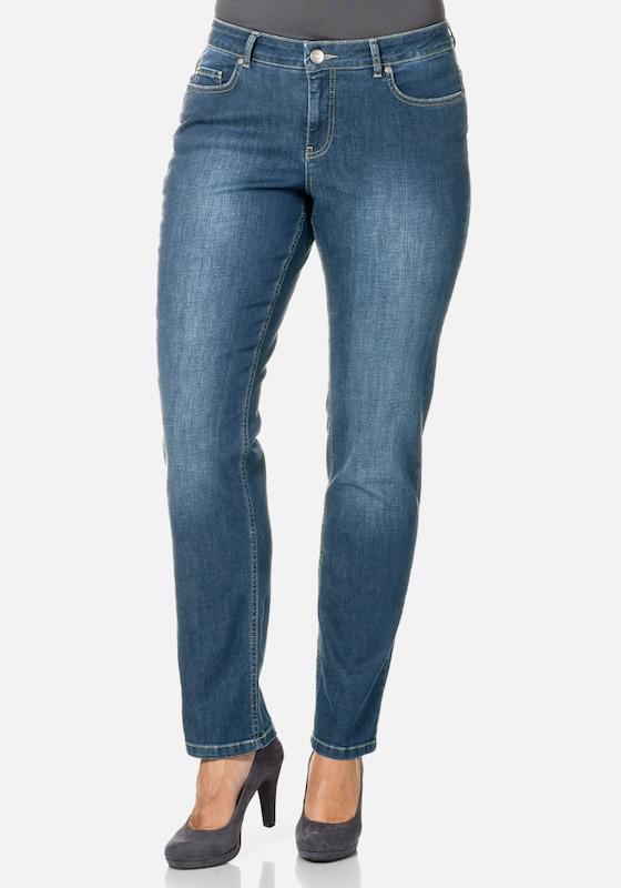 sheego denim Schmale Stretch-Jeans Kira mit Ziernähten