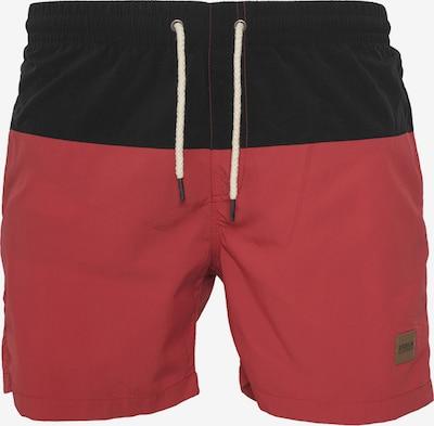 Urban Classics Badeshorts 'Block Swim Shorts' in rot / schwarz, Produktansicht