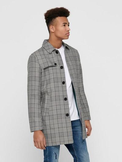 Only & Sons Mantel in grau / schwarz / weiß, Modelansicht