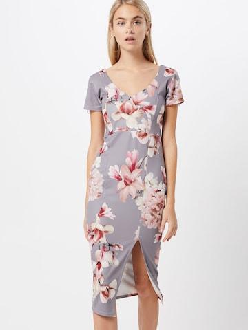 Boohoo Φόρεμα κοκτέιλ 'Floral cap' σε γκρι
