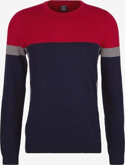 s.Oliver Pullover in dunkelblau / grau / rot, Produktansicht