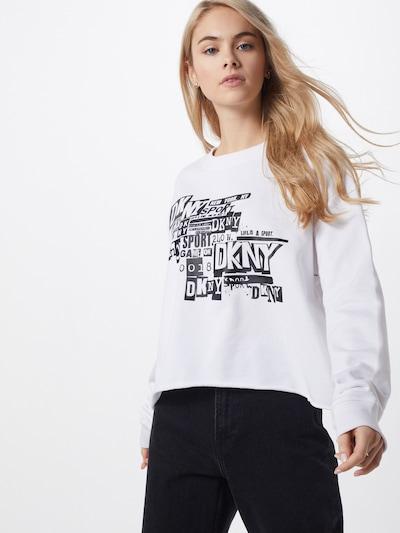 DKNY Performance Bluzka sportowa 'NEWSPAPER' w kolorze czarny / białym: Widok z przodu