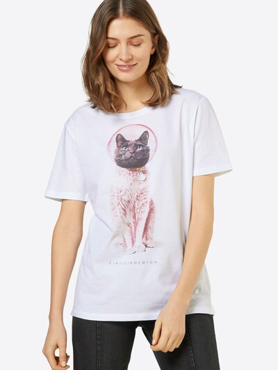 EINSTEIN & NEWTON Shirt 'Astro Cat' in grau / altrosa / weiß: Frontalansicht