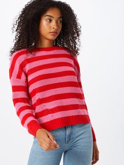ONLY Sweter 'Sara' w kolorze różowy / czerwonym, Podgląd na modelu(-ce)