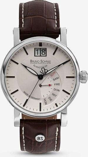 Bruno Söhnle Uhr 'Pesaro' in kastanienbraun / silber / naturweiß, Produktansicht